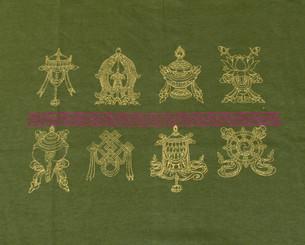 Boon Decor Tee shirts with Eight Auspicious Symbols Olive Eight Auspicious Symbols Tee-shirt