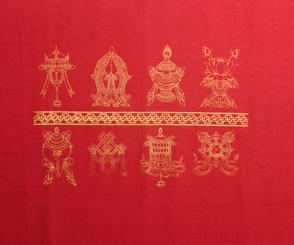 Tee Shirts - Eight Auspicious Symbols: Tee-Shirt - Eight Auspicious Symbols, Red