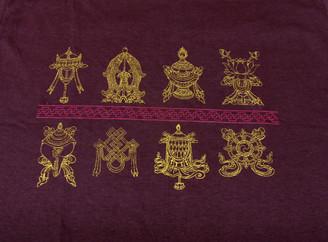 Boon Decor Tee shirts with Eight Auspicious Symbols Brown