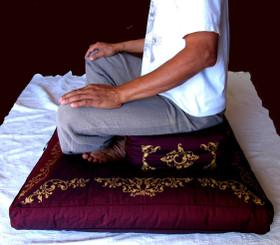 Boon Decor Rectangular Meditation Cushion - Silk Screen Sacred Symbol Zafu Meditation Posture - Cross-Legged on Zafu and Zabuton