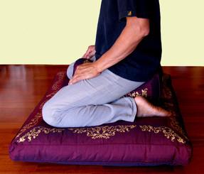 Boon Decor Rectangular Meditation Cushion - Silk Screen Sacred Symbol Zafu Kneeling Seiza Meditation Posture