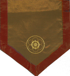 Boon Decor Altar Cloth Or Wall Hanging - Embroidered - Dharma Wheel in the Lotus - Taupe