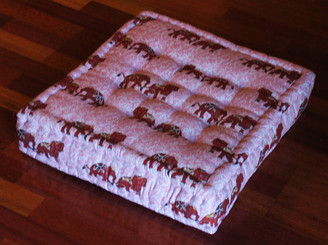 Boon Decor Meditation Floor Pillow - Sitting Cushion - Limited Edition - Brown Elephants - Salmon