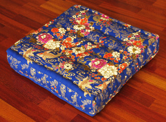 Boon Decor Meditation Floor Pillow - Sitting Cushion - Limited Edition - Fishes and Flowers - Blue