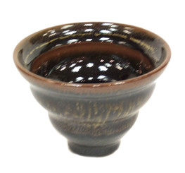 Ikebana Bowls - Brown Hand-Dipped Glaze: Flare Top Mini Ikebana Bowl