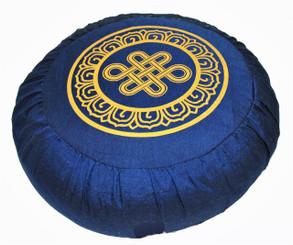 Boon Decor Meditation Cushion Buckwheat Zafu Pillow Eternal Knot Blue 16 dia 6 loft