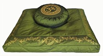 Boon Decor Meditation Cushion Set Zafu and Zabuton Om in Lotus Olive Green