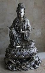 Boon Decor Quan Yin Statue - Antique Silver Finish Solid Bronze 10