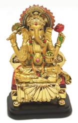 Boon Decor Ganesh w/Golden Bolster - 6.25 Painted Resin