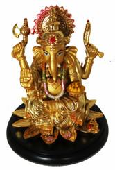 Boon Decor Ganesh on Lotus w/Round Base - 5 Painted Resin