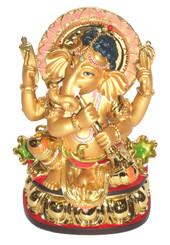 Boon Decor Ganesh Playing Horn - 6.5 Painted Resin