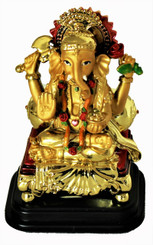 Boon Decor Ganesh w/ Gold Bolster on His Dais - 4.25 Painted Resin