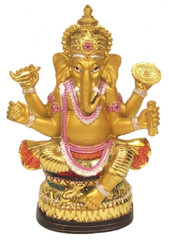 Boon Decor Ganesh with Flower Garlands - 6 Painted Resin
