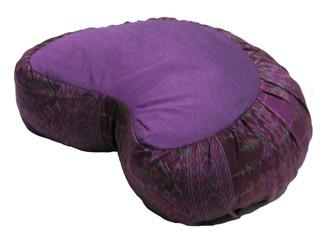 Boon Decor Crescent Zafu Meditation Cushion Buckwheat Fill - Global Ikat - Purple