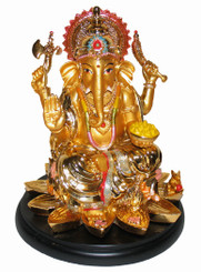 Boon Decor Ganesh on Lotus and Wood Base - 7 Painted Resin