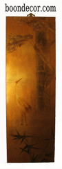 Boon Decor Gold Leaf Painting Hand Painted on Lacquered Wood - Cranes under Pine Tree