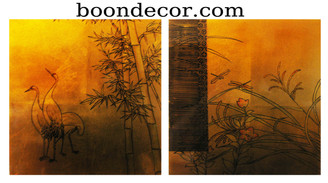 Boon Decor Gold Leaf Painting Hand Painted on Lacquered Wood - Cranes and Dragonflies Set