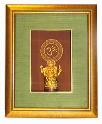 Boon Decor Shadow Box Art Golden Ganesh Statue with OM Symbol