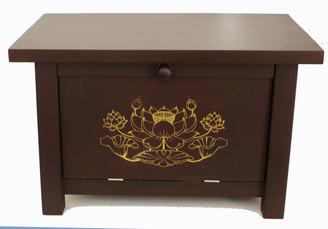Boon Decor Altar Cabinet - Golden Lotus Design - Solid Mango Wood Reddish Brown - AS IS