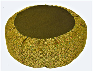 Boon Decor Meditation Cushion Buckwheat Zafu Pillow Silk Jewel Brocade - Olive Lime Green