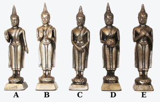 Boon Decor Buddha Statues for Days of the Week - Solid Bronze Silver Finish 4h