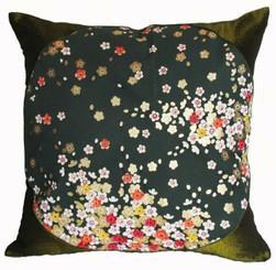 Boon Decor Silk Throw Pillow - Japanese Kimono Silk Green SEE BOTH SIDES