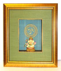 Boon Decor Shadow Box Art Hand Painted Ganesh Statue - OM Symbol