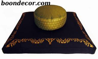 Boon Decor Meditation Cushion Seat Zafu and Zabuton Set Olive Green Indochine