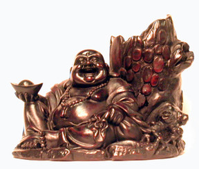 Boon Decor Hotai Monk Laughing Buddha w/Tree Trunk Container - 6 Resin