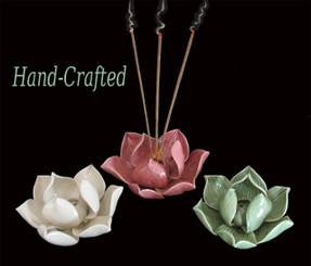 Boon Decor Incense Holder - Hand-Sculpted Porcelain - Lotus Blossom - Large