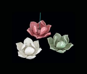 Boon Decor Incense Holder - Hand-Sculpted Porcelain - Lotus Blossom - Medium