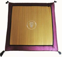 Boon Decor Japanese Zabuton Floor Cushion - Tatami and Silk Embroidered Iris - Purple