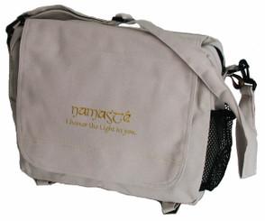Boon Decor Yoga Messenger Bag - Cotton Canvas - Ivory Namaste 16x12x6
