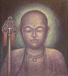 Boon Decor Jizo Monk With Staff - Original Painting on Canvas 14 X 16
