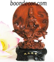 Boon Decor Kuan Yin Resin Figurine Royal Ease Kuan Yin - Wood Grained Finish