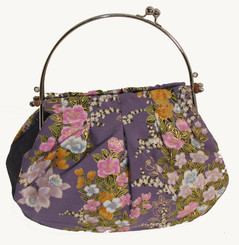 Boon Decor Handbag - Japanese Silk Kimono - Large Lavender Floral Handbag