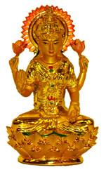 Boon Decor Lakshimi Figurine On Golden Lotus - Painted Resin 3.75