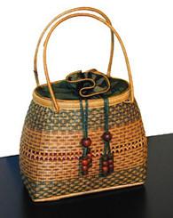 Boon Decor Handbags- Woven Bamboo and Silk Large Bamboo and Silk Handbags