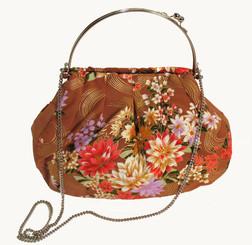 Boon Decor Handbag - Japanese Silk Kimono - Large Light Brown Floral