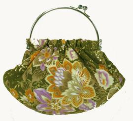 Boon Decor Handbag - Japanese Silk Kimono - Small Olive Green Handbag
