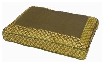Boon Decor Meditation Low Rise Sitting Cushion - Silk Brocade Brocade Olive Green