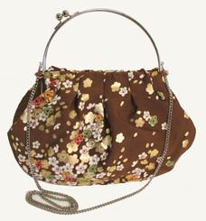 Boon Decor Handbag - Japanese Silk Kimono - Large Brown Cherry Blossom Handbag