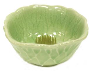 Boon Decor Ikebana Bowls, Celadon Ikebana Bowl- Lotus Leaf - 4.25 Dia