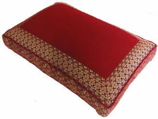 Boon Decor Meditation Low Rise Sitting Cushion - Magenta Pomegranate Jewel Brocade