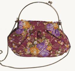 Boon Decor Handbag - Japanese Silk Kimono - Large Mauve Floral Handbag