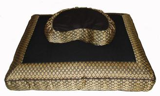 Boon Decor Meditation Cushion Set - Crescent Zafu and Zabuton - Jewel Brocade - Black