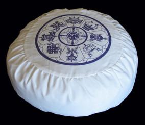 Boon Decor Meditation Cushion Zafu Cotton Pillow - 8 Auspicious Symbols Ivory SEE COLORS
