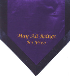 Boon Decor Altar Cloth Or Wall Hanging - Embroidered - May All Beings Be Free - Purple