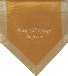 Boon Decor Altar Cloth Or Wall Hangings - Embroidered - May All Beings Be Free - Iridescent Gold