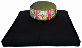 Boon Decor Meditation Cushion Set Zafu and Zabuton Eastern Tile Design Bliss Olive Green
